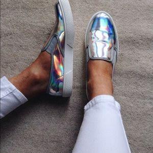 Blue hologram slip on shoes